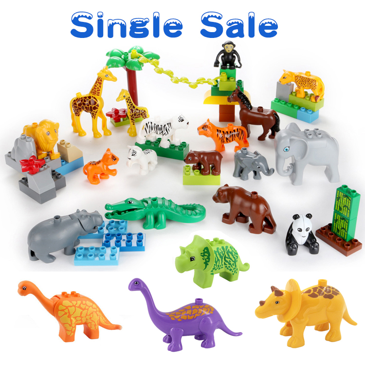 Farm Animal Building Large Particles Blocks The Zoo Dinosaur Brick Set Big Blocks Children Model Toys Compatible with Duplo Baby lunch at the zoo