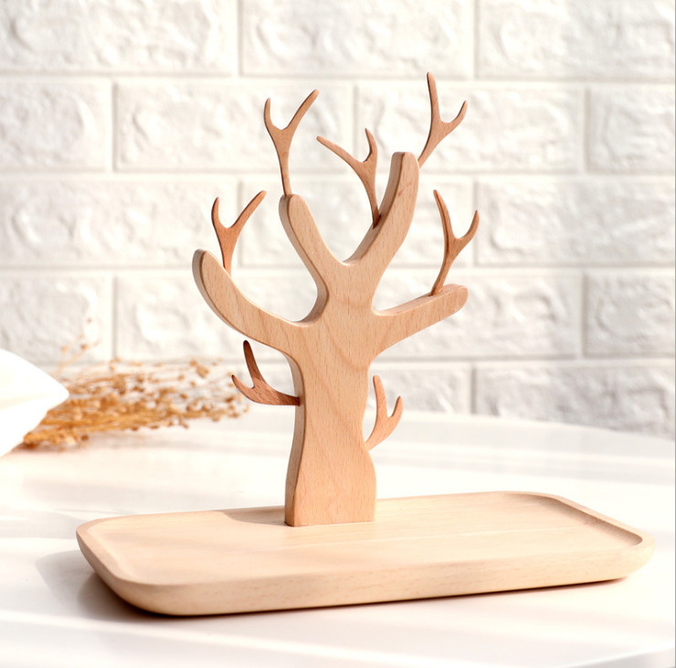 Detachable Branch Fruit Fork Tray Set Showing Stand Hand String Storage Tray Decorated Wooden Tree Style Jewelry Display Shelf