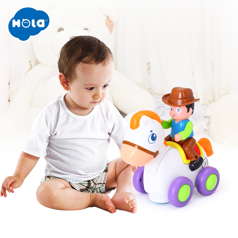HOLA 838A Baby Toys Happy Racing Horse With Music & Lights Kids Crawl Styling Toy For Children 18 Month+
