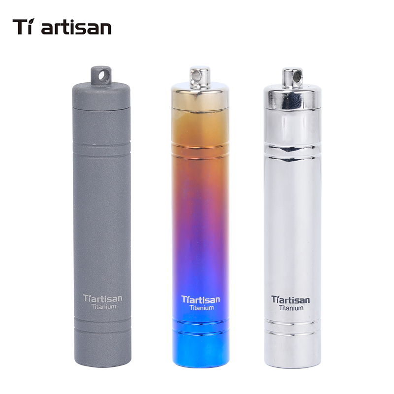 Tiartisan Titanium Metal Toothpicks Box Sealed Waterproof Storage Pill Case Small Container Three Colors Selection Ta6109Ti