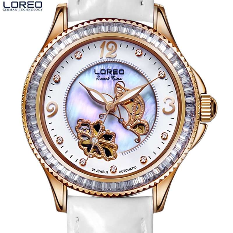 купить Simple Fashion 316L Stainless Steel Rose Gold Watch Women Dress LOREO Watches Top Brand Luxury Diamond Quartz Watches For Girls по цене 12103.56 рублей