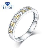 Loving VS Diamond Wedding Flower Ring Real 14K Two Tone Gold for Couple Anniversary Fine Jewelry Party Gift Wholesale