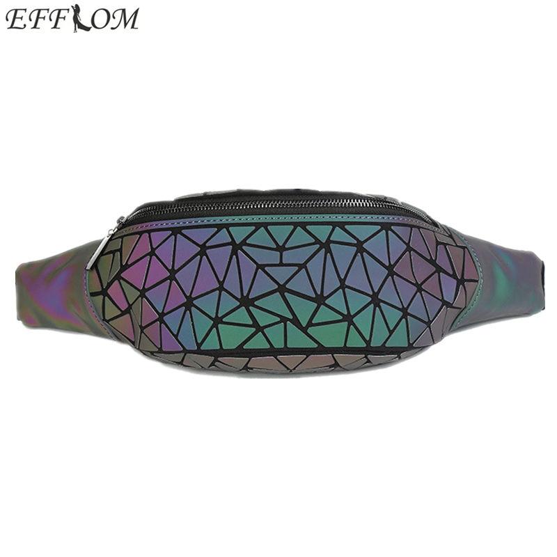EFFLOM 2018 Fashion Luminous Waist Bags Women Waist Fanny Packs Belt Bag Luxury Brand Leather Chest Handbag Geometry Waist Packs
