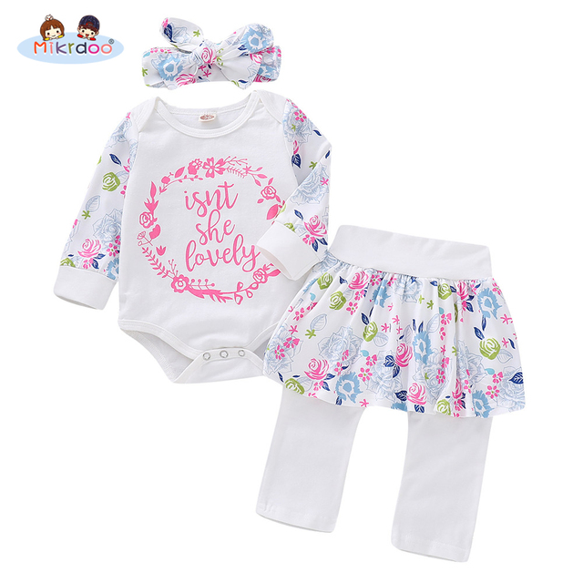 Toddler Infant Baby Girls Clothes Set Letters Print Long Sleeve Romper Pantskirt Headband Cute Floral 3PCS Outfit