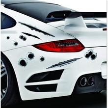 3D Bullet Hole Funny Car Styling Sticker FOR ford focus 2 kia rio chevrolet cruze toyota solaris kia ceed lada vesta vw polo