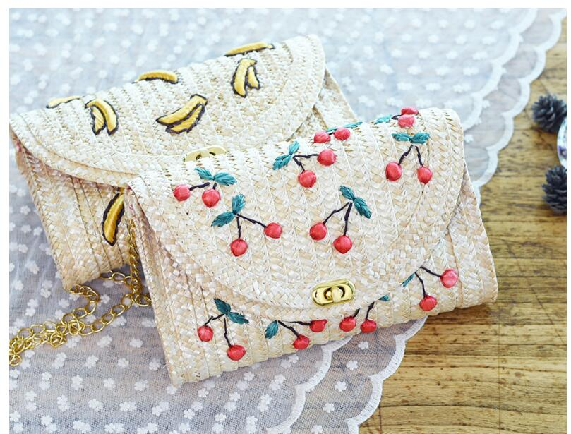 Fruit Cherry Banana Straw Beach Bag for Women Messenger Bags Embroidery Design Summer Cute Flap Chain Shoulder Bag beach straw bags women appliques beach bag snakeskin handbags summer 2017 vintage python pattern crossbody bag