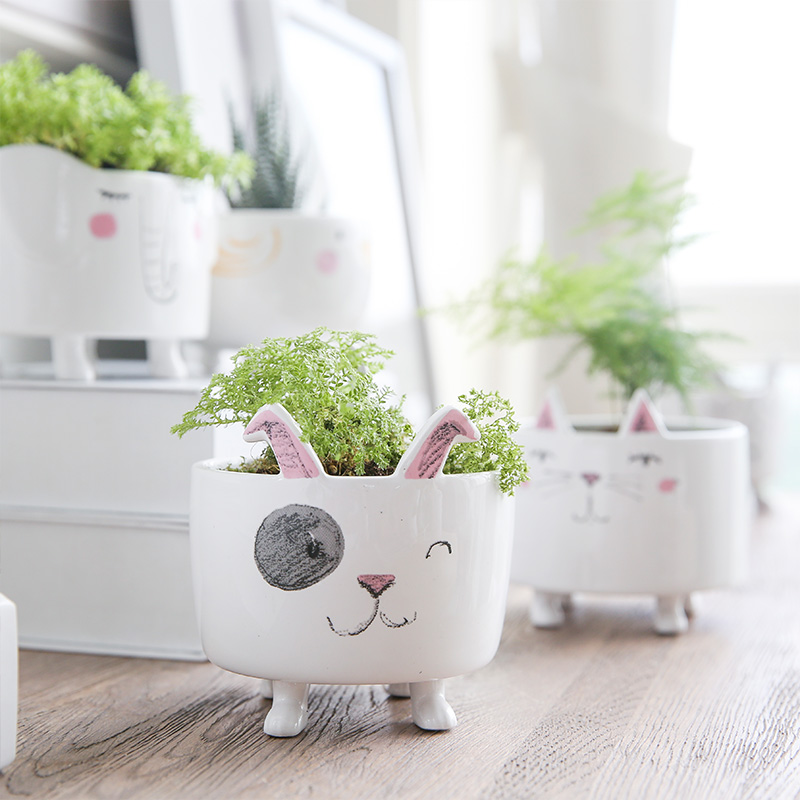 1 Piece Vase Cute Animal Figure Ceramic Vase For Plants Home Garden Decoration Accessories Small Pot Gift For Friends