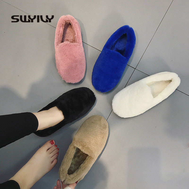 SWYIVY Fur Loafers Ladies Winter Warm Casual Shoe Slip Ons 2019 Ballerinas Shoes For Women Flat Shoes Loafer Women Shoe Flat-in Women's Flats from Shoes