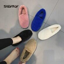 Swyivy pele mocassins senhoras inverno quente sapatos casuais deslizamento ons 2019 bailarinas sapatos para mulher sapatos planos mocassins