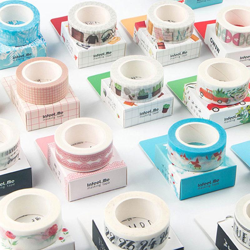 1pcs/lot1.5cm*7m Bud Silk Washi Tape Sticker Kawaii Scrapbooking Planner Masking Tape Office Adhesive Tape DIY Seal Tape