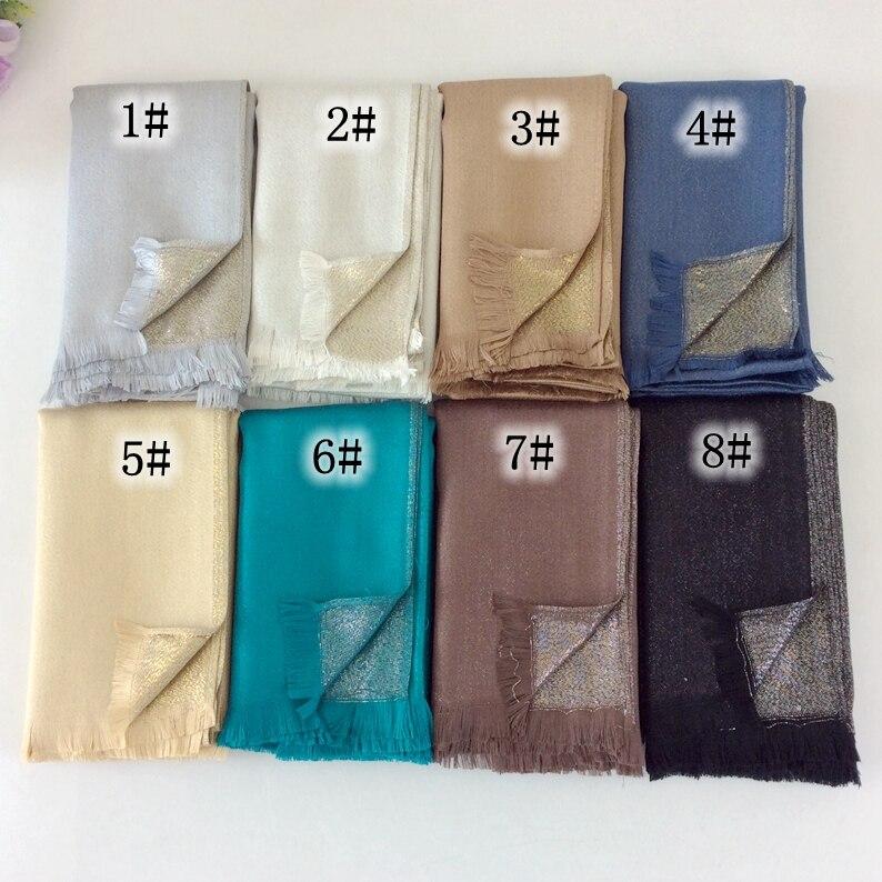 Cotton Lurex Tassels Shimmer Plain Glitter Long Shawls And