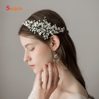 Stunning Beaded Sliver Headband Women Hair Jewelry Pearls Flowers Wedding Accessories complementos de mujer H196