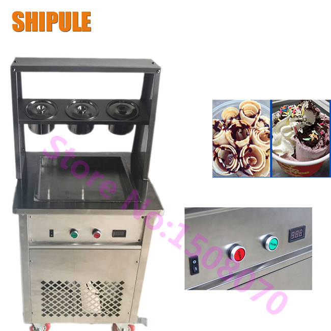 SHIPULE Factory supply single squar pot fried ice machine fried ice roll machine electric ice cream making machine shipule fried ice cream machine roll machine ice cream maker