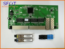 2 Ports SFP+8 RJ45 POE reverse Switch board, with manageable, together SFP SC port 3km and SC/UPC fast connector