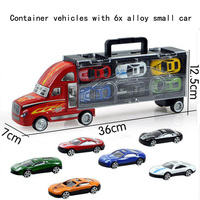 Novos modelos de simulação das crianças brinquedos do carro modelo de caminhão recipiente com 6 Pcs liga carros pequenos brinquedos do presente do bebê