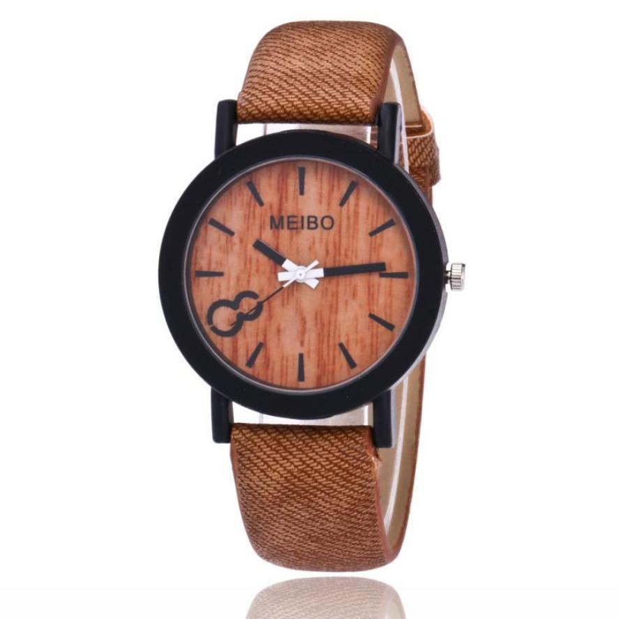 Watch Bracelet Modeling Quartz for Wooden Color Analog Casual