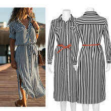 Women Vintage Blue Striped Sashes Dress Seven Sleeve Turn-Down Collar Casual 2019 New Summer  Party Literary style