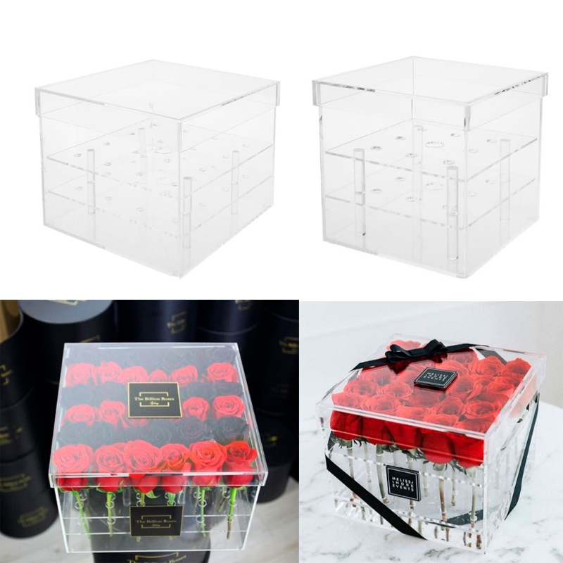 Creative Acrylic Rose Flower Box Multi Function Organizer Makeup Case Cosmetic Lid Holder Flower Gift Box For Girlfriend #20/17W