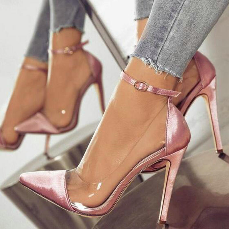 Thin high heels ankle buckle women pump ladies wedding shoes woman sapato  jelly clear chaussure bride sexy Drop Shipping -in Women s Pumps from Shoes  on ... feb61718a1fd