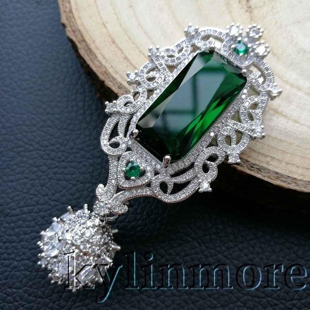 CP040 1 pcs 29x56mm Green CZ Micro Pave Silver Plated Jewelry Pendant
