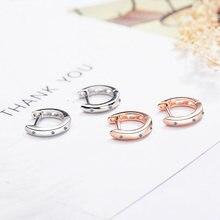 Посеребренные серьги кольца huggies с цирконом маленькие тонкие