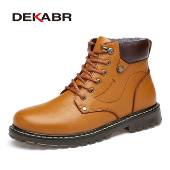 DEKABR Genuine Leather Men Boots Autumn Winter With Fur Warm Snow Boots Male Winter Boots Work Shoes Footwear Rubber Ankle Shoes