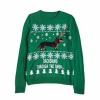Autumn Winter Christmas Sweater Cute Dachshund Embroidery Snow Letter Women Pullovers Long Sleeve Knitting Outwear Tricot