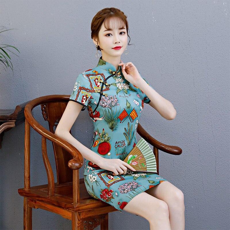 Summer New Women Cheongsam Short Dress Floral Vintage Traditional Cotton Slim Dresses Vestidos