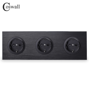 Coswall Luxurious Black Aluminum Panel 16A Triple EU Standard Wall Power Socket 3 Way Outlet Grounded With Child Protective Lock()
