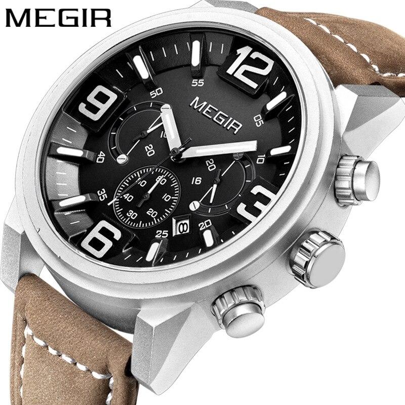 MEGIR Date Chronograph Wrist Watch Top Luxury Brand Mens Military Sport Army Clock Men Male Classic Quartz Watches Gift Box 3010