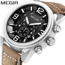 MEGIR Date Chronograph Wrist Watch Top Luxury Brand Mens Military Sport Army Clock Men Male Classic Quartz Watches Gift Box 3010