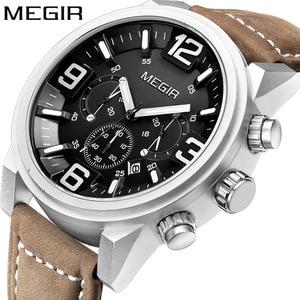 Image 1 - MEGIR Date Chronograph Wrist Watch Top Luxury Brand Mens Military Sport Army Clock Men Male Classic Quartz Watches Gift Box 3010