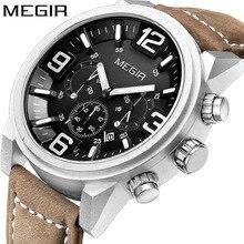 MEGIR наручные часы с хронографом и датой, Топ люксовый бренд, мужские военные спортивные армейские часы, мужские классические кварцевые часы, Подарочная коробка 3010