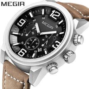 Image 1 - Megir Date Chronograph Horloge Top Luxe Merk Mens Militaire Sport Leger Klok Mannen Mannelijke Klassieke Quartz Horloges Gift Box 3010