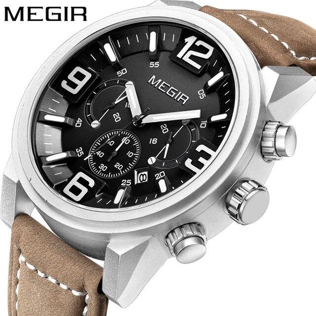Megir Date Chronograph Horloge Top Luxe Merk Mens Militaire Sport Leger Klok Mannen Mannelijke Klassieke Quartz Horloges Gift Box 3010