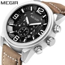 Megir relógio de pulso masculino, data cronógrafo, luxuoso, militar, esportivo, relógio do exército, masculino, clássico, relógios de quartzo, caixa de presente 3010
