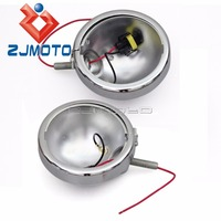 2x Motorcycle Spotlight Shell Kit Bulb Bucket For Harley Touring 4 1/2 Auxiliary Passing Fog Light Housing Cover Trim Housing