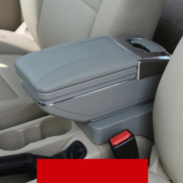 Para KIA K2 RIO apoyabrazos central caja de Cuero de LA PU caja del contenido del Almacén con portavasos productos accesorios