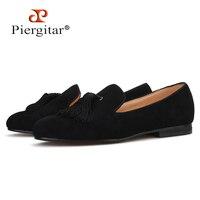 Piergitar 2019 New style Handmade women velvet shoes party and wedding women loafers fashion tassel designs women's flats