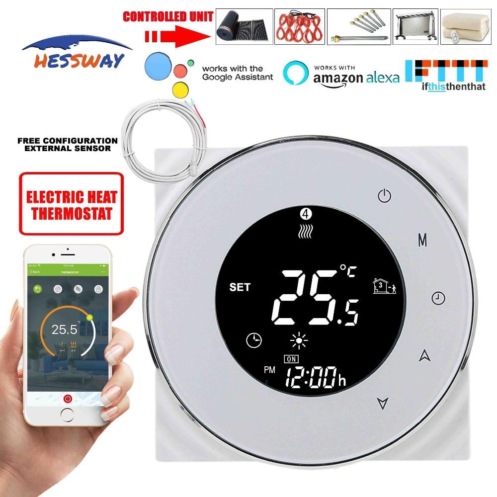 HESSWAY TUYA WIFI digital lcd aquecimento termostato 16A para ajuste de temperatura de aquecimento por piso radiante por Alexa inicial do Google