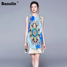 Banulin 2019 High Quality Runway Spring Summer Short Dress Women's Sleeveless O-Neck Luxurious Floral Printed A-Line Mini Dress blue random floral printed a line mini dress