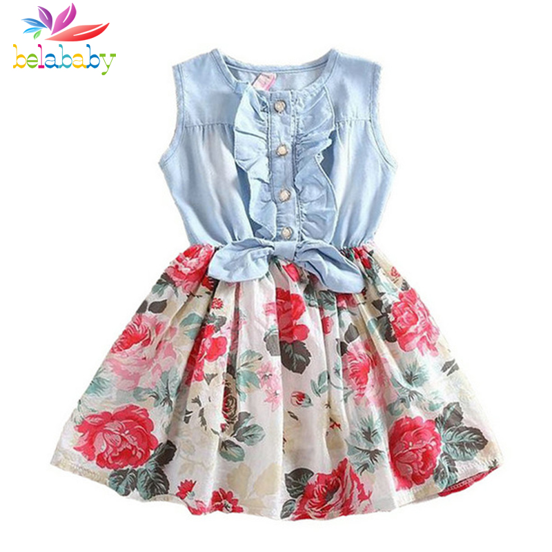 Belababy Baby Girl Dress Lato 2019 Nowe sukienki dla dziewczynek Flower Kids Princess Dress For Girl Child Clothes 2-9y Dropshipping