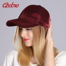 fa2bbcc819ed73 Geebro Brand 2018 Spring Velvet Baseball Cap Women Plain Black Snapback Men  Fashion Pure Caps Flat
