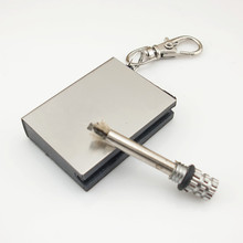 4PCS/LOT Outdoor Camping Standing match metal Striker Lighter with keychain survival Silver Matches