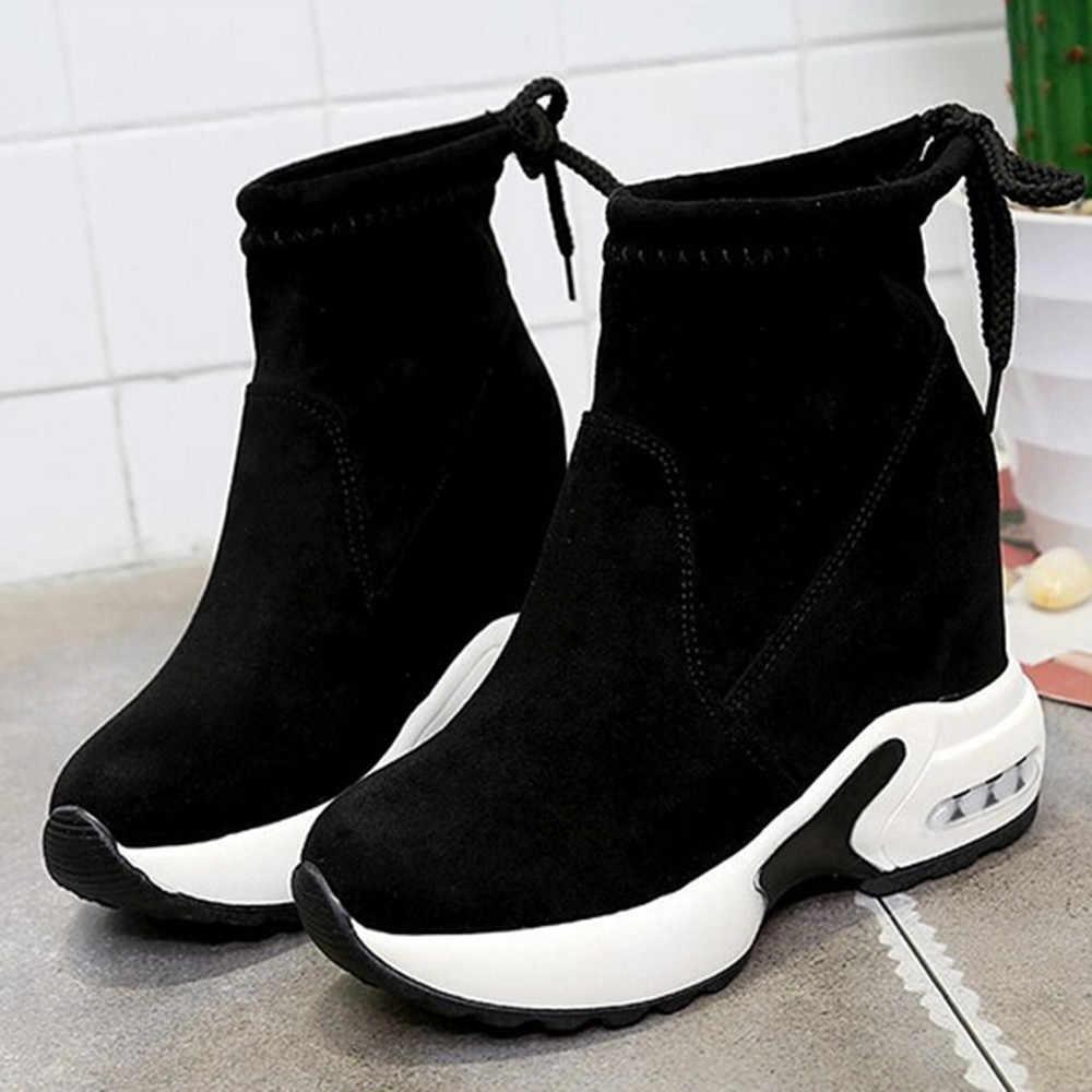 Kadın kısa çizmeler kış kar botu Muffin platformu açık spor yüksek topuk yükseklik artan ayak bileği ayakkabılar sıcak kürk ayakkabı