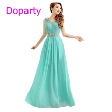 Doparty XS2 Cheap Elegant Long Pink Lace Crystal Turquoise Pink Sleeveless Party Evening Dress 2017 New Arrival Formal Dresses