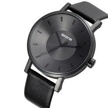 SKONE черный Для женщин Для мужчин кварцевые часы Relojes Hombre мужской Смотреть Кожа модные простые Пара Lover наручные подарок