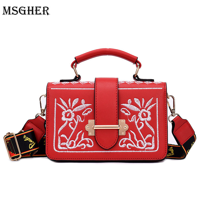 M.S PU Leather Women Crossbody Bags Fashion Embroidery Design Women Shoulder Bags Color Shoulder Strap Ladies Handbags 2018