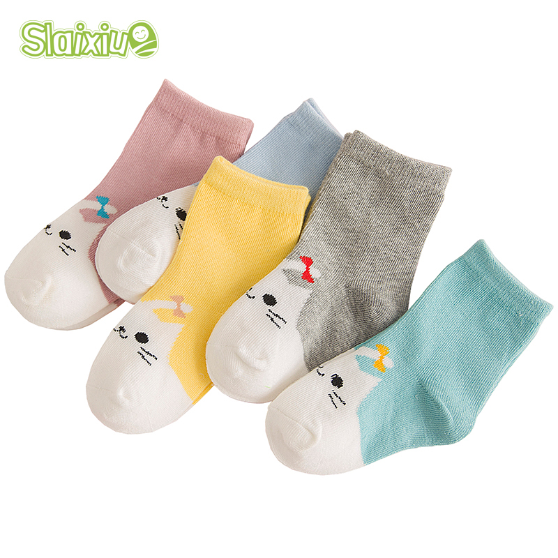 5 Pair/lot Kids Cotton Socks For Baby Boys Girls Socks Stripes Suitable Autumn And Winter Lovely Cat Children's Style For 1-10Y one set vertical stripes socks