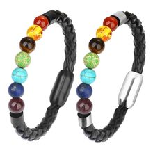XINYAO 2018 New Braided Black Leather Bracelets Stainless Steel Magnetic Friendship Bracelets 7 Chakra Natural Stone Bead Bangle(China)